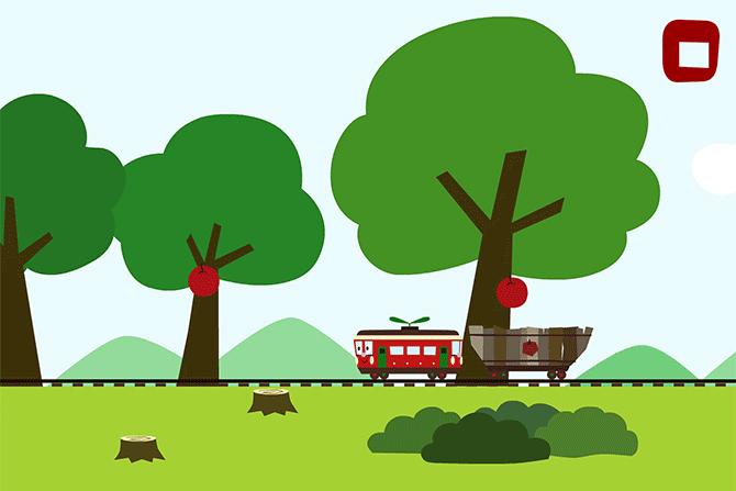 電車のりんくん<br />りんご狩り
